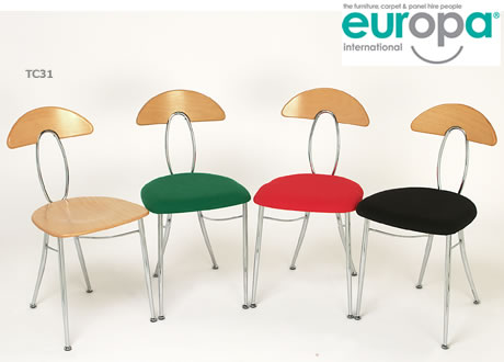 Eros beech back chrome frame chair