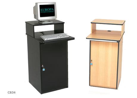 Lockable computer workstation - adjustable shelf