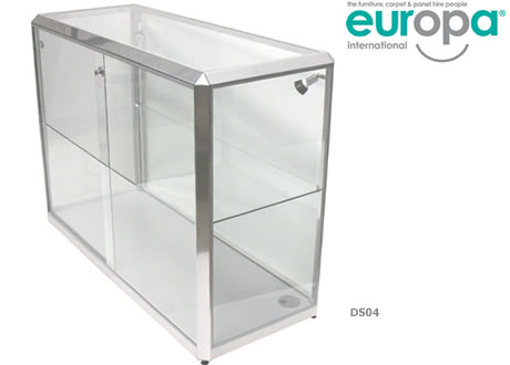1.25m Glass Showcase Cabinet - Lights & lockable