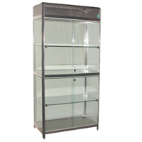 Double 1m Tallboy Showcase Lights and lockable hire