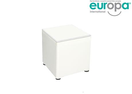 Wondrous White Faux Leather Hire Cube Creativecarmelina Interior Chair Design Creativecarmelinacom