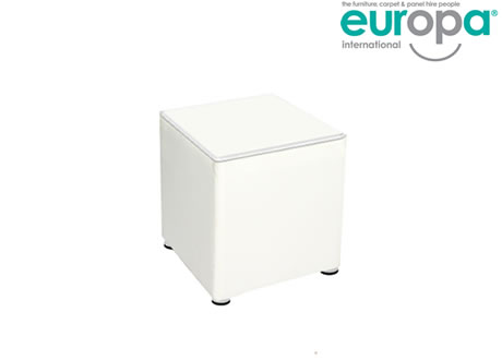 White Faux Leather Cube