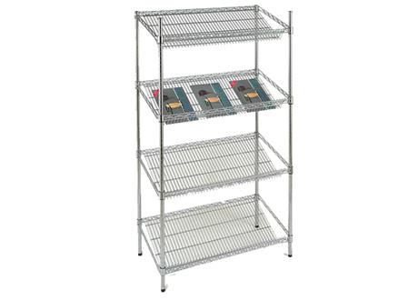 4 Shelf (3 Angled) Chrome Rack