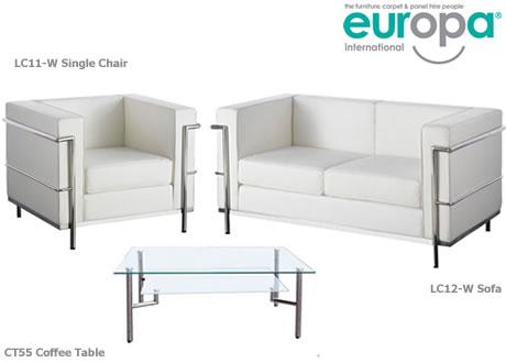 White Corbusier Style 2 Seater Sofa