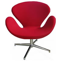 Red Leather Swan Chair hire